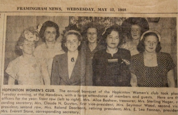 photo and clipping about Hopkinton Womens Club from Framingham News 1948-05-12