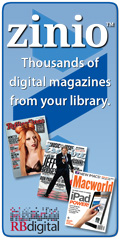 Blue box with Zino logo magazine covers and text Thousands of digital magazines from your library