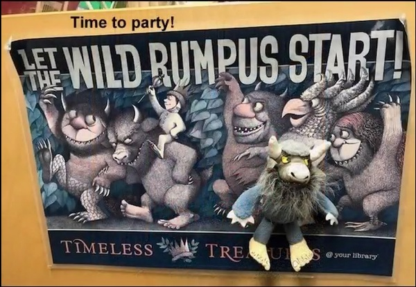 let the wild rumpus start Wild Things poster with small Wild Thing doll